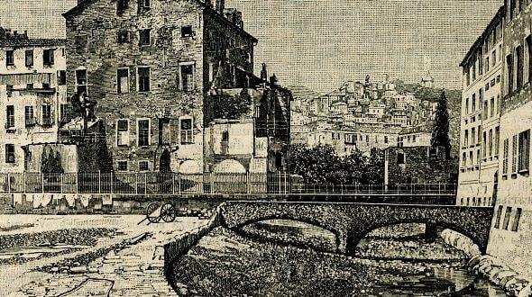 """Il quartiere Pigna disegnato ne """"Le cento città d'Italia illustrate"""" (1924-1929)."""