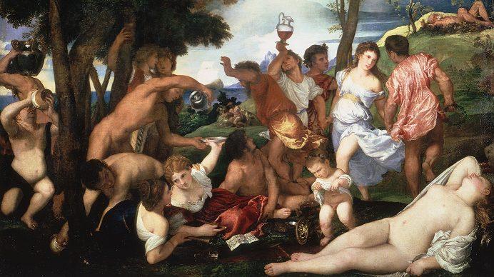 """Il """"Baccanale degli Andrii"""" di Tiziano, conservato presso il Museo del Prado di Madrid."""