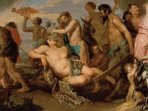 Gli antichi Bacchanalia in una pittura del 1659 conservata presso il Museo d'Arte Moderna di Vienna.