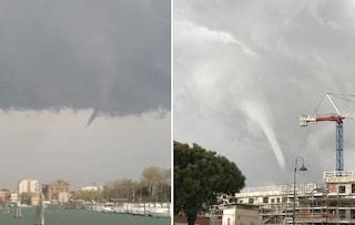 Maltempo, danni e paura nel Veneziano: trombe marine e alberi crollati sulle auto