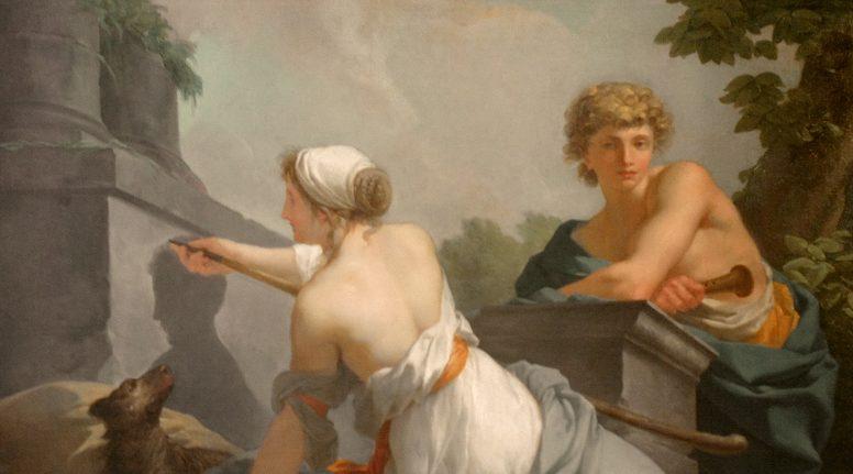 """Jean-Baptiste Regnault, """"L'origine della pittura"""" (1828), Castello di Maisons-Laffitte."""