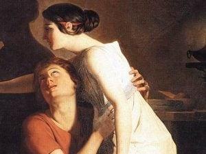 """""""L'invenzione del disegno"""" di Joseph-Benoît Suvée (1791): il quadro, conservato al Groeningemuseum di Bruges, è ispirato al mito greco di Corinzia, la donna che inventò la pittura."""