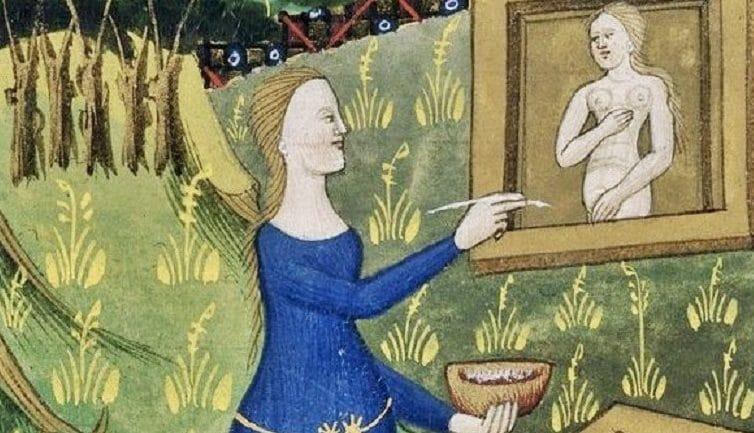 La pittrice Timarete in una miniatura del XIV secolo.