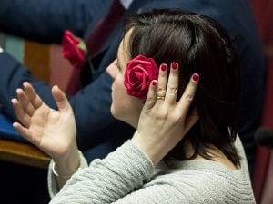 I deputati del M5s indossano una rosa rossa in occasione del ddl sulla violenza domestica di genere