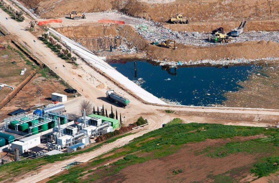 Vista aerea della discarica di Borgo Montello
