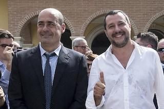 """Matteo Salvini contro Nicola Zingaretti: """"Noi primi nei sondaggi, PD disprezzato ovunque"""""""