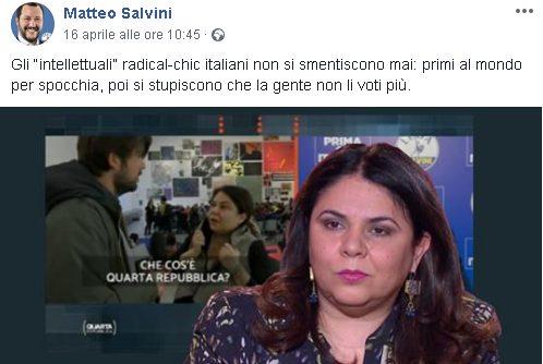 Il post di Matteo Salvini su Michela Murgia.
