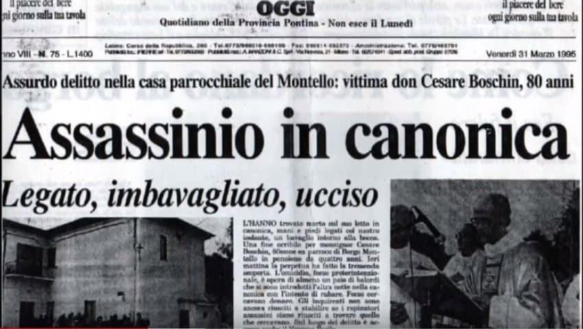 Un ritaglio di giornale dell'epoca con la notizia della morte di don Cesare Boschin