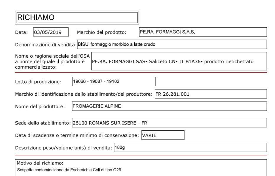Formaggi francesi, rischio contaminazione da Escherichia: