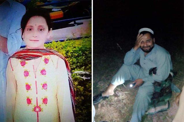 Farishta Mohmand (a sinistra), la bimba pakistana violentata e uccisa. A destra, la disperazione del padre