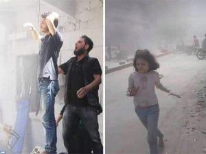A sinistra il dolore di un padre. A destra una bimba fugge dopo il bombardamento a Maarrat al–Numan, nella provincia di Idlib (Majd Khalaf)