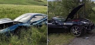 Incidente tra due Ferrari alla Mille Miglia: bolidi distrutti nel campo, ferita una donna