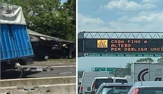 Scontro tra due tir sull'autostrada A13, due feriti e cinque chilometri di coda