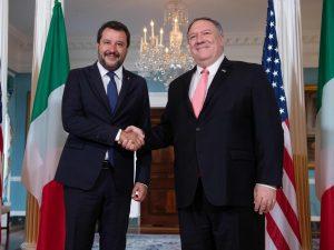 Matteo Salvini incontra il segretario di Stato Usa Mike Pompeo