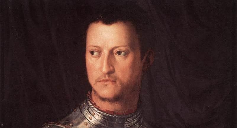 """""""Ritratto di Cosimo I de' Medici in armatura"""" del Bronzino (1545), Gallerie degli Uffizi, Firenze."""