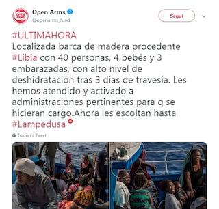 """Migranti, allarme di Open Arms: """"Barcone con bimbi e donne incinte"""", scortati a Lampedusa"""