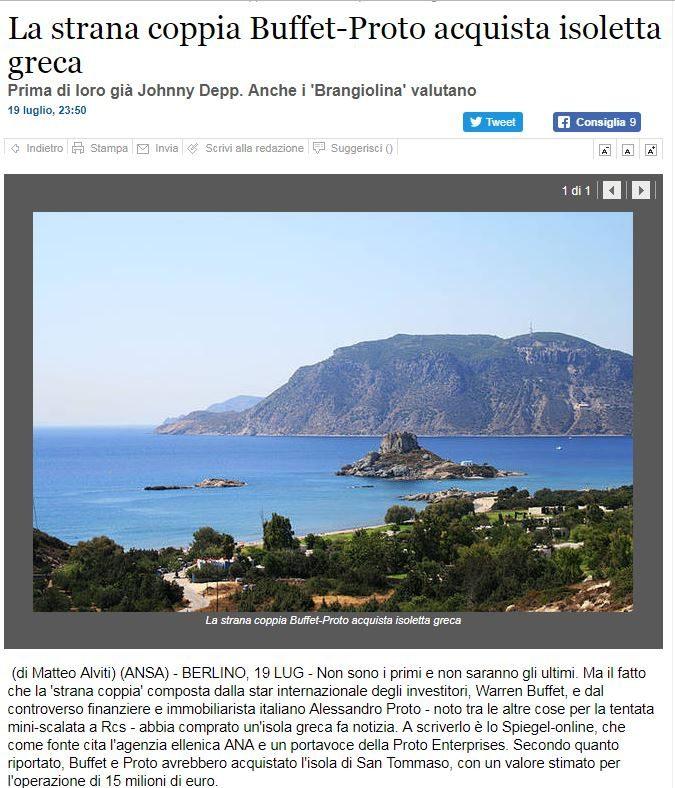 """La """"strana coppia"""" Proto–Buffet acquistano un'isola greca. La notizia pubblicata da Ansa e ripresa nel sito di Alessandro Proto"""