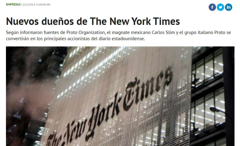 La notizia fasulla che Alessandro Proto, assieme al magnate messicano Carlos Slim hanno comprato il New York Times