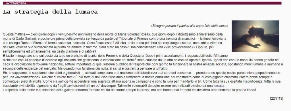 Il comunicato apparso sul sito Finimondo.org