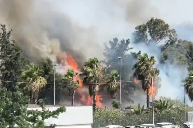 Incendio a Catania (Screen da Facebook).