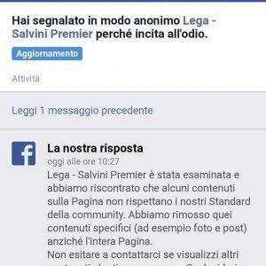 """Facebook elimina alcuni post della Lega segnalati per """"incitamento all'odio"""""""