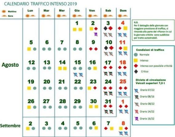 Calendario Mario Moretti.Previsioni Traffico Luglio E Agosto 2019 I Giorni Da