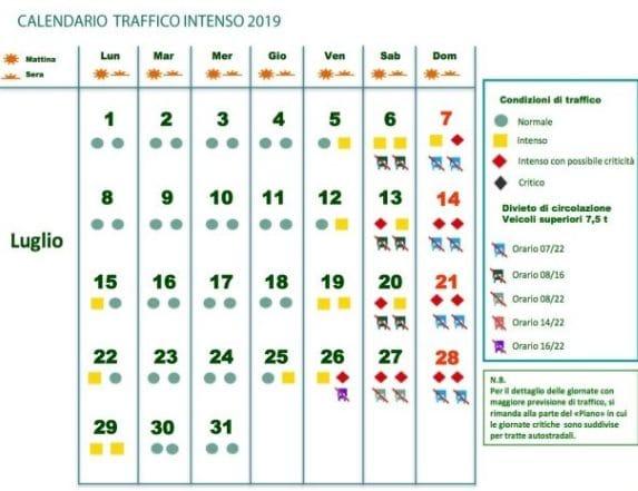 Agosto Calendario.Previsioni Traffico Luglio E Agosto 2019 I Giorni Da