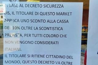 """Dl sicurezza bis, market applica sconti a stranieri per protesta: """"Contro vergogna e infamia"""""""