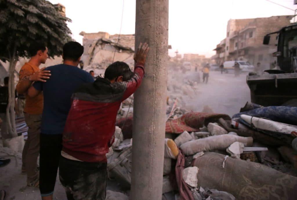 La devastazione a Maaret al–Numan dopo l'attacco aereo di mercoledì 28 agosto (Gettyimages)
