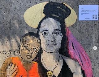 """Taormina, collettivo dedica murales a Santa Carola Rackete, """"protettrice dei rifugiati"""""""