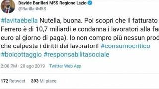 """Barillari (M5S) contro Nutella: """"Lavoratori alla fame"""". La replica: """"Mai nessuno è stato licenziato"""""""
