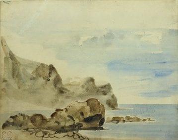 Eugène Delacroix, Falesie a Dieppe, 1834 ca., Acquerello su carta, 12,8x16,8 cm, Collection Association Peindre en Normandie, Caen