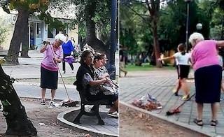 """Bari, la piazza è sporca: """"nonna Allegra"""" prende una scopa e la ripulisce da sola"""