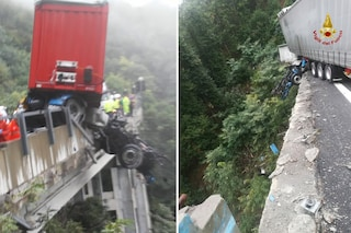 Paura sull'autostrada A6, tir sbanda e precipita da un viadotto, conducente salvato