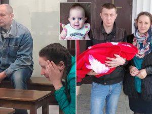 Viktor e Natalya in tribunale, nel riquadro la piccola Anna, a destra il padre della piccola insieme agli altri due figli e la ex compagna