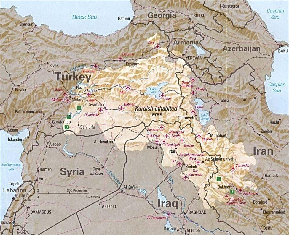 La popolazione curda è divisa tra Turchia, Iraq, Iran e Siria (Central intelligence agency)