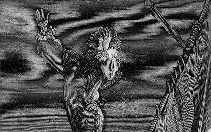 La fine tragica di Gwynplaine in un'illustrazione del 1877.
