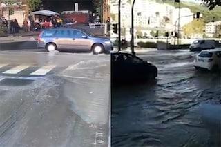 Genova, scoppia un tubo dell'acqua e allaga Piazzale Parenzo: traffico bloccato a Staglieno