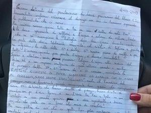 La foto della lettera del detenuto inviata a Fanpage.it