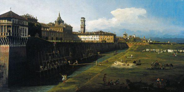 """Canaletto, """"Veduta di Torino dai Giardini Reale"""" (1745)."""