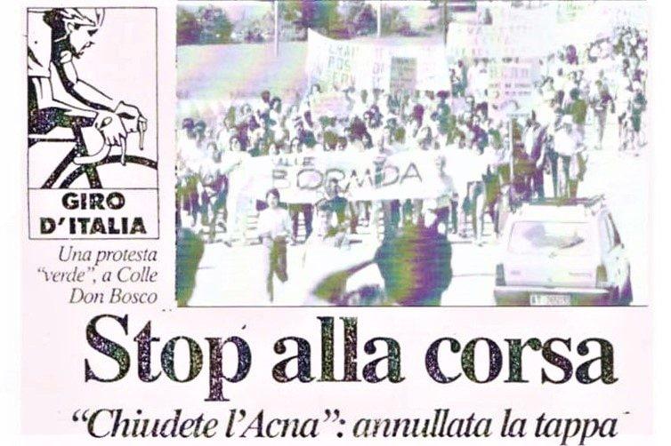 Un giornale dell'epoca riporta l'interruzione della tappa del giro d'Italia avvenuta nel 1988 da parte degli ambientalisti della Val Bormida