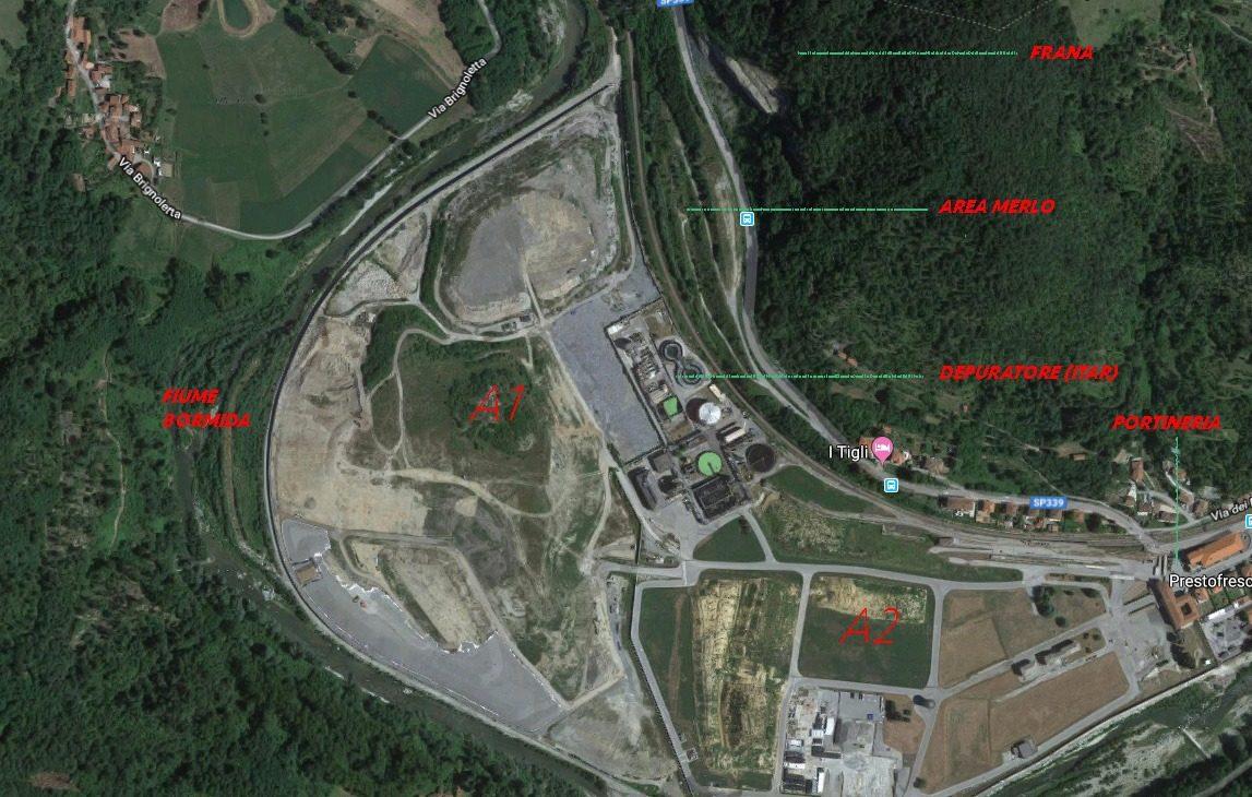 La mappa del Sin di Cengio–Saliceto (Google Maps/Rielaborazione Roberto Meneghini)