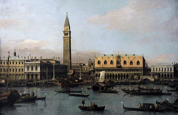 """Canaletto, """"Piazzetta e Riva degli Schiavoni"""", Alte Pinakothek di Monaco."""