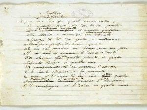 """Copia autografa de """"L'infinito"""" di Giacomo Leopardi alla Biblioteca Nazionale di Napoli"""