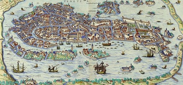 Antica mappa di Venezia.