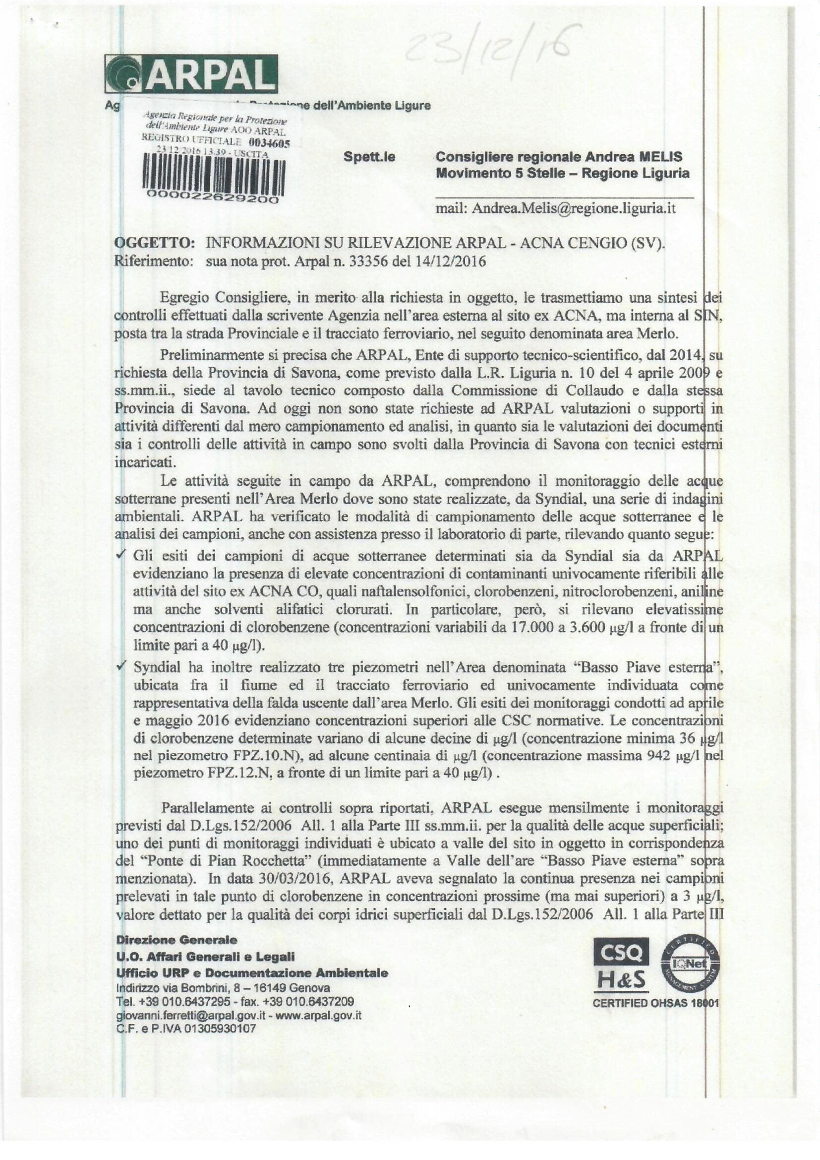 L'analisi delle acque sotterranee del Sin di Cengio–Saliceto realizzate dall'Arpal e rese pubbliche dopo l'intervento del consigliere regionale del M5S Andrea Melis