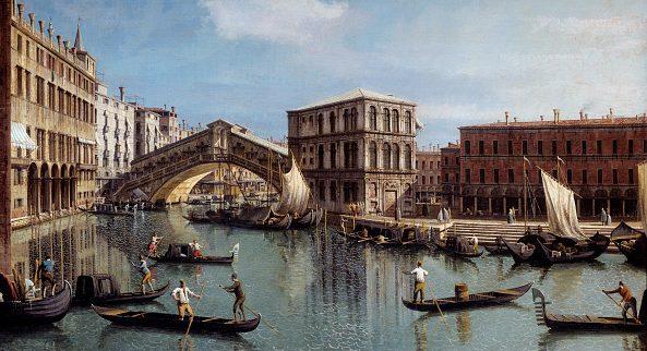 Veduta del Ponte Rialto dipinta dal Canaletto.