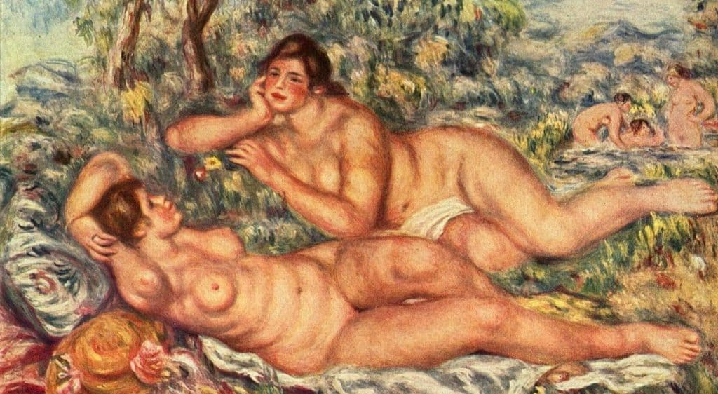 """Pierre-Auguste Renoir, """"Le bagnanti"""" (1918-1919). Il dipinto, l'ultimo realizzato dall'artista, è conservato al Musée d'Orsay di Parigi."""