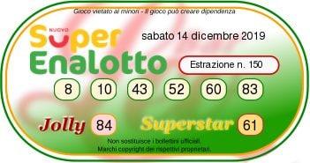 Estrazione SuperEnalotto sabato 14 dicembre 2019: combinazione vincente