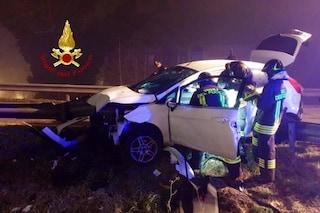 Padova, paura in strada: auto infilzata dal guardrail, autista sfiorato ma salvo